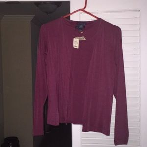 NWT S Ann Taylor tank top & sweater set deep red